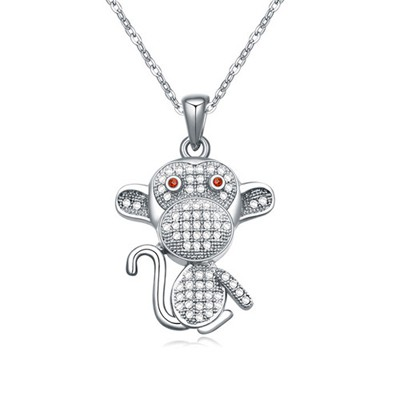Micro white&platinum CZ diamond decorated monkey pendant design zircon Crystal Necklaces