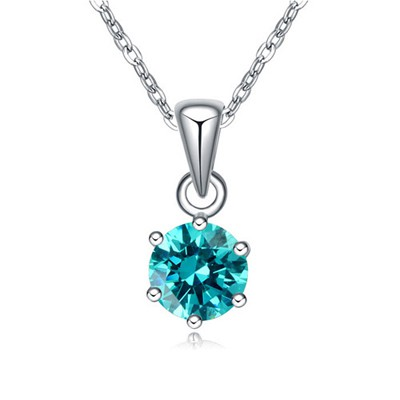 Funky Mint green CZ diamond decorated round pendant design zircon Crystal Necklaces