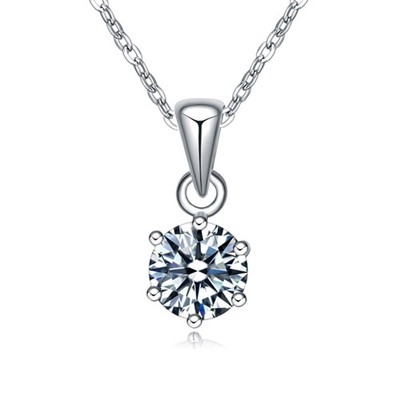 Sapphire white CZ diamond decorated round pendant design zircon Crystal Necklaces