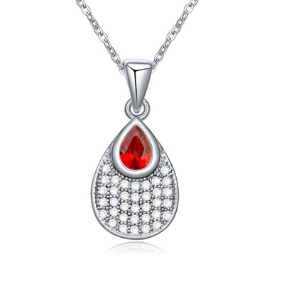 Creative Pomegranate red CZ diamond decorated waterdrop pendant design zircon Crystal Necklaces