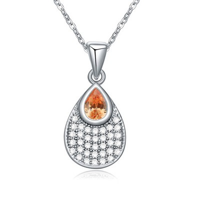 Timeless champagne CZ diamond decorated waterdrop pendant design zircon Crystal Necklaces