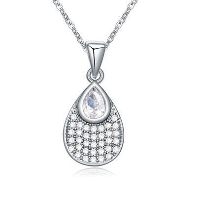 Punk white CZ diamond decorated waterdrop pendant design zircon Crystal Necklaces