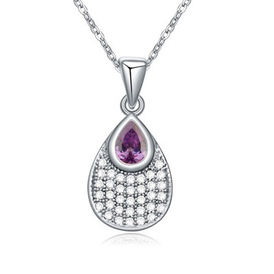 Rave purple CZ diamond decorated waterdrop pendant design zircon Crystal Necklaces