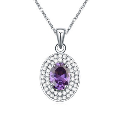 Christenin purple CZ diamond decorated oval pendant design zircon Crystal Necklaces