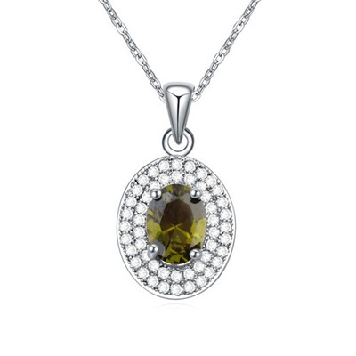 Hurley Olive green CZ diamond decorated oval pendant design zircon Crystal Necklaces