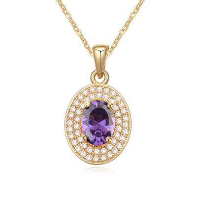 Dancing purple&champagne color CZ diamond decorated oval pendant design zircon Crystal Necklaces