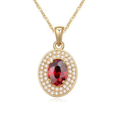Elephant pomegranate red&champagne color CZ diamond decorated oval pendant design zircon Crystal Necklaces