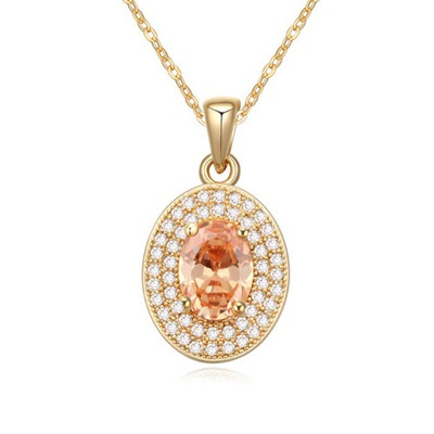 Modern champagne CZ diamond decorated oval pendant design zircon Crystal Necklaces