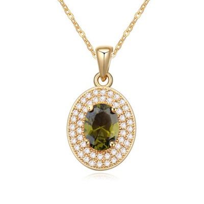 Used olive green&champagne color CZ diamond decorated oval pendant design zircon Crystal Necklaces