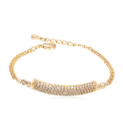 Padded white&Champagne gold CZ diamond decorated simple design zircon Crystal Bracelets