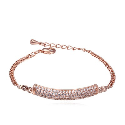 Standard white&rose gold CZ diamond decorated simple design zircon Crystal Bracelets