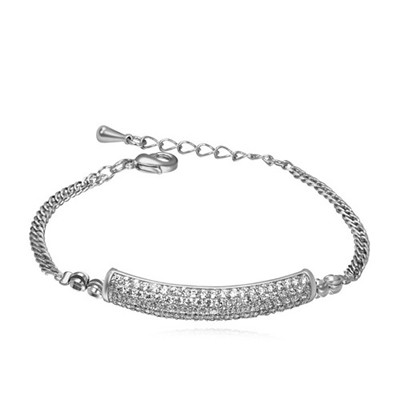 Plaid white&platinum CZ diamond decorated simple design zircon Crystal Bracelets