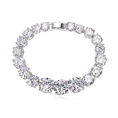 Flip white CZ diamond decorated simple design zircon Crystal Bracelets