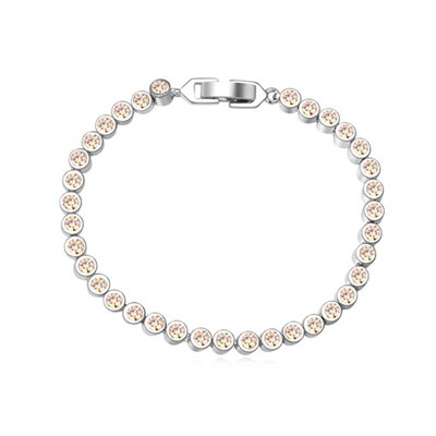Streamline champagne CZ diamond decorated simple design zircon Crystal Bracelets