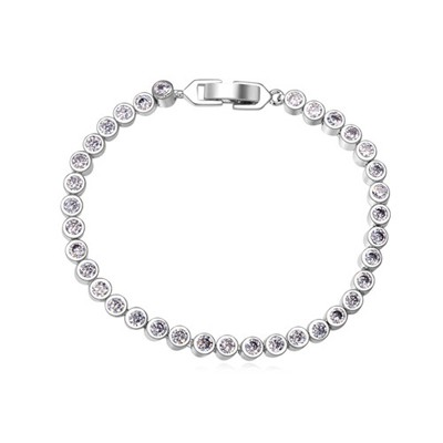 Faddish white CZ diamond decorated simple design zircon Crystal Bracelets