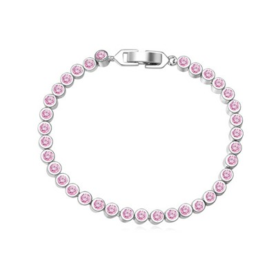Genuine pink CZ diamond decorated simple design zircon Crystal Bracelets