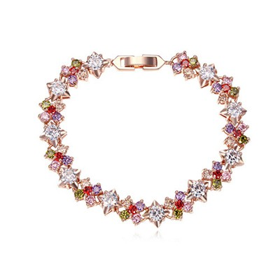 Moving multicolor & rose gold CZ diamond decorated flower design zircon Crystal Bracelets