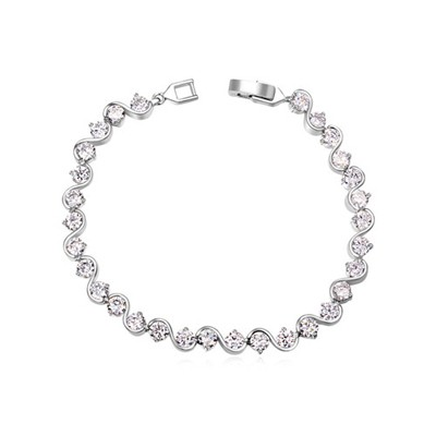 Flamenco white CZ diamond decorated S shape design zircon Crystal Bracelets
