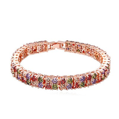 Birthing multicolor & rose gold CZ diamond decorated double-layer design zircon Crystal Bracelets