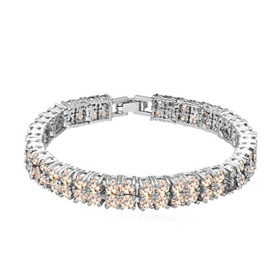 Promotiona champagne CZ diamond decorated double-layer design zircon Crystal Bracelets