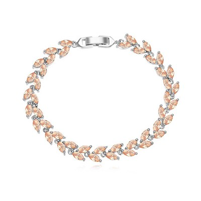 Corporate champagne CZ diamond decorated leaf shape design zircon Crystal Bracelets