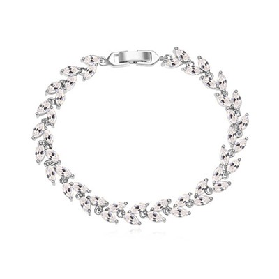 Stainless white CZ diamond decorated leaf shape design zircon Crystal Bracelets