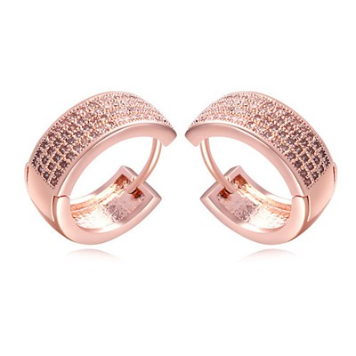 18K white & rose gold CZ diamond decorated simple design zircon Crystal Earrings