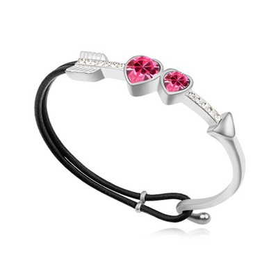 Fashion plum red CZ diamond decorated Cupid's arrow design alloy Crystal Bracelets