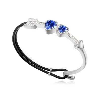 Graduation blue CZ diamond decorated Cupid's arrow design alloy Crystal Bracelets