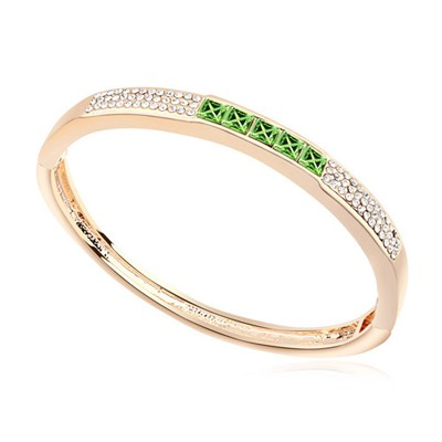 Roll olive & Champagne gold CZ diamond decorated oval  design alloy Crystal Bracelets