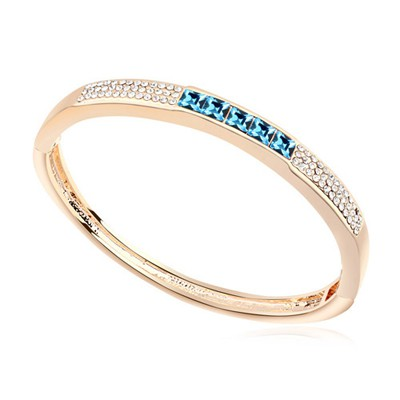 Bead navy blue & champagne gold CZ diamond decorated  simple design alloy Crystal Bracelets