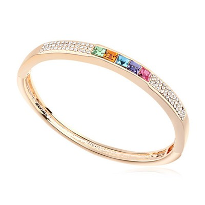 Slim multicolor & Champagne gold CZ diamond decorated  simple design alloy Crystal Bracelets