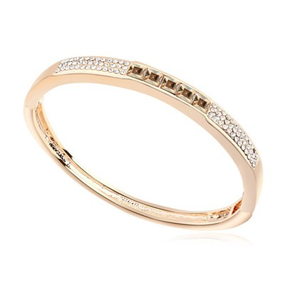 Fashionabl gold color & Champagne gold CZ diamond decorated  simple design alloy Crystal Bracelets