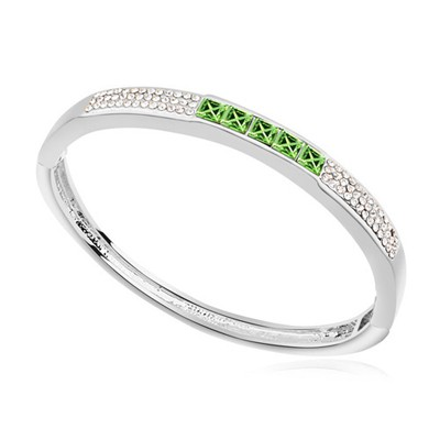 Patagonia olive color CZ diamond decorated  simple design alloy Crystal Bracelets