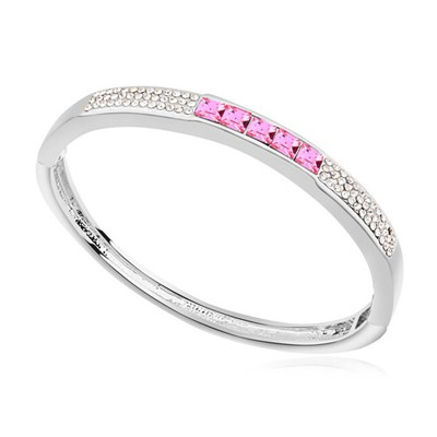 2012 plum red CZ diamond decorated  simple design alloy Crystal Bracelets