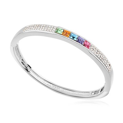 Layered multicolor CZ diamond decorated  simple design alloy Crystal Bracelets