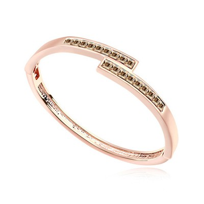 Magnifying gold color & rose gold CZ diamond decorated overlap  design alloy Crystal Bracelets