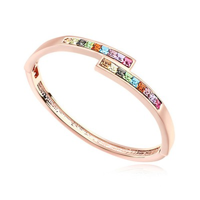 Real multicolor & rose gold CZ diamond decorated overlap  design alloy Crystal Bracelets