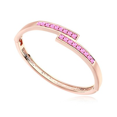 Customized plum red & rose gold CZ diamond decorated overlap  design alloy Crystal Bracelets