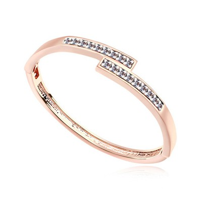 Fishing white & rose gold CZ diamond decorated overlap  design alloy Crystal Bracelets