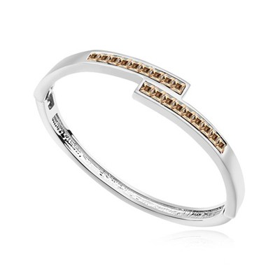 Revealing gold color CZ diamond decorated overlap  design alloy Crystal Bracelets