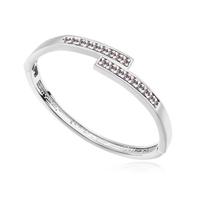 Recycled white CZ diamond decorated overlap  design alloy Crystal Bracelets
