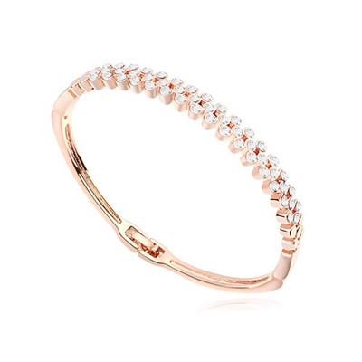 Diabetic white & rose gold CZ diamond decorated Multi-level design alloy Crystal Bracelets