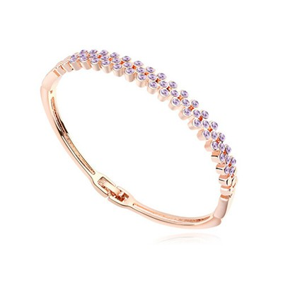 Rave purple & rose gold CZ diamond decorated Multi-level design alloy Crystal Bracelets