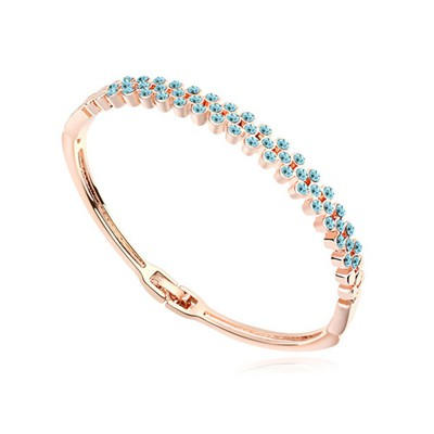 Patagonia navy blue & rose gold CZ diamond decorated Multi-level design alloy Crystal Bracelets