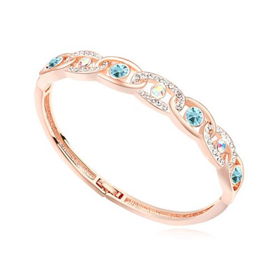 Womens navy blue & rose gold CZ diamond decorated interlocking design alloy Crystal Bracelets