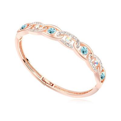 Womens navy blue & rose gold CZ diamond decorated interlocking design alloy Crystal Bracelets