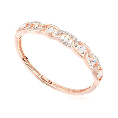 Celtic white & rose gold CZ diamond decorated interlocking design alloy Crystal Bracelets