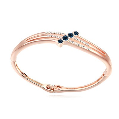 Hippie dark blue & rose gold CZ diamond decorated simple design alloy Crystal Bracelets