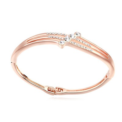 Trendy white & rose gold CZ diamond decorated simple design alloy Crystal Bracelets